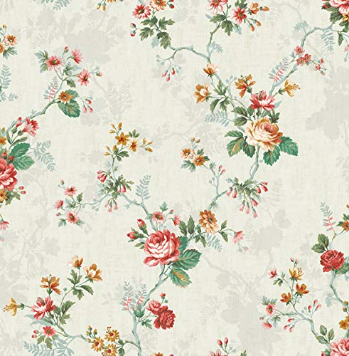 (Ascending Rose Wallpaper in Coral Rose FL90301 from Wallquest)