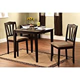 Harewood 3 Piece Dining Set, Constructed of Sturdy Rubber Wood with Microsuede Upholstered Seats