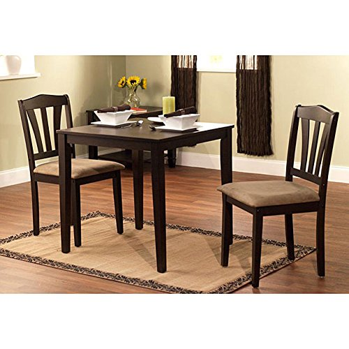 Harewood 3 Piece Dining Set, Constructed of Sturdy Rubber Wood with Microsuede Upholstered Seats (3 Breakfast Dining Piece Set)