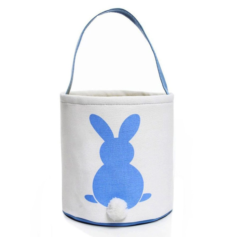 VIPITH Easter Bunny Basket Dual Layer Easter Eggs Foldable Canvas Tote Printed Rabbit and Fluffy Tails Easter Gift Bag for Kids Party (Blue)