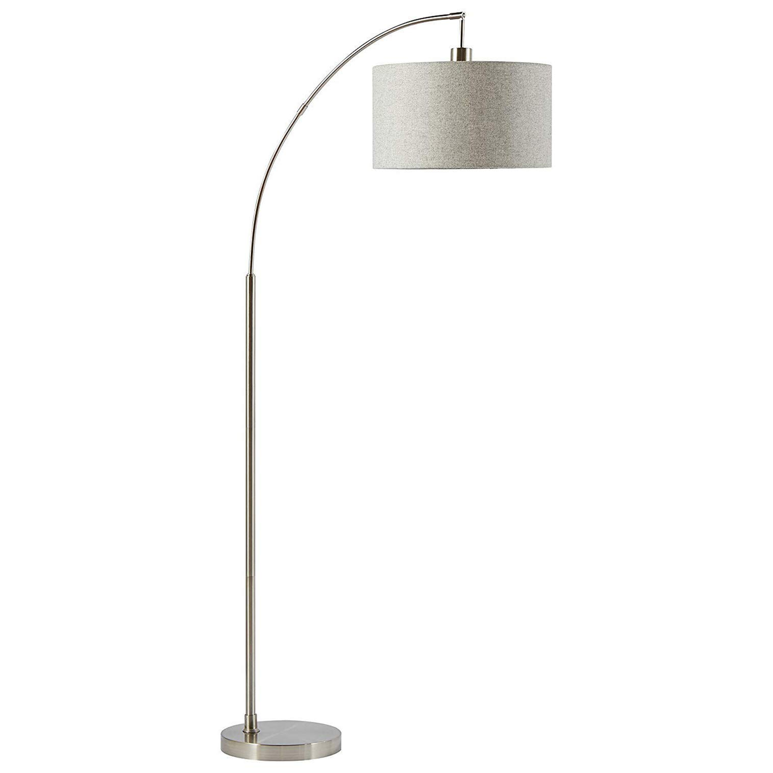 Rivet Modern Arc Floor Lamp with Bulb and Fabric Shade, 69''H, Steel by Rivet