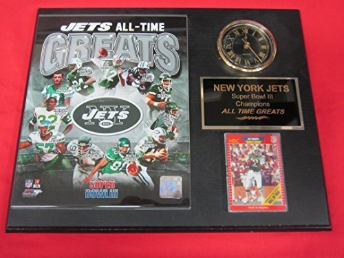 New York Jets All Time Greats Collectors Clock Plaque w/8x10 Photo and Card