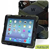 iPad Cases,iPad 2 Case,iPad 3 Case,iPad 4 Case,TRAVELLOR[Heavy Duty] Three Layer Armor Defender And Full Body Protective Case Cover With Kickstand And Screen Protector for iPad 2/3/4 - Camo Green