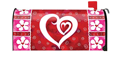 eart & Flowers Cute Valentine Flower Magnetic Mailbox Cover ()