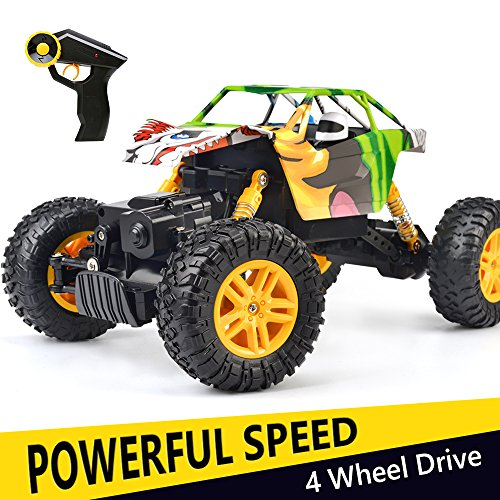 DOUBLE E RC Cars 1:18 Dual Motors Rechargeable Remote Control Truck 4WD Off Road RC Truck Rock - Monster Truck Remote Controlled