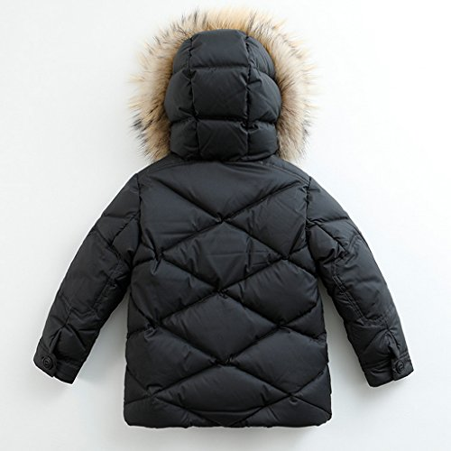 marc janie Baby Boys Kids' Lightweight Down Jacket With Raccoon Fur Collar Hood Puffer Winter Coat Black 4T by marc janie (Image #1)