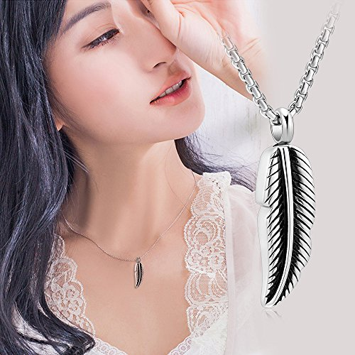 Stainless Steel Feather Urn Necklace Hold Cremation Ashes Keepsake Memorial Jewelry +Box+Fill Kits by EternityMemory (Image #5)