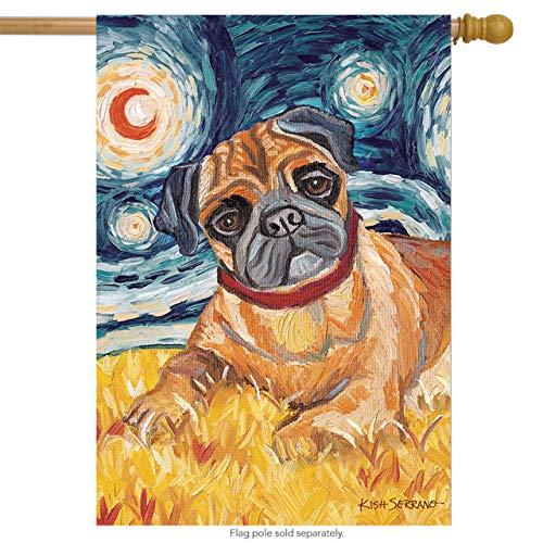 (Toland Home Garden Van Growl Fawn Pug 28 x 40 Inch Decorative Puppy Dog Portrait Starry Night House Flag )