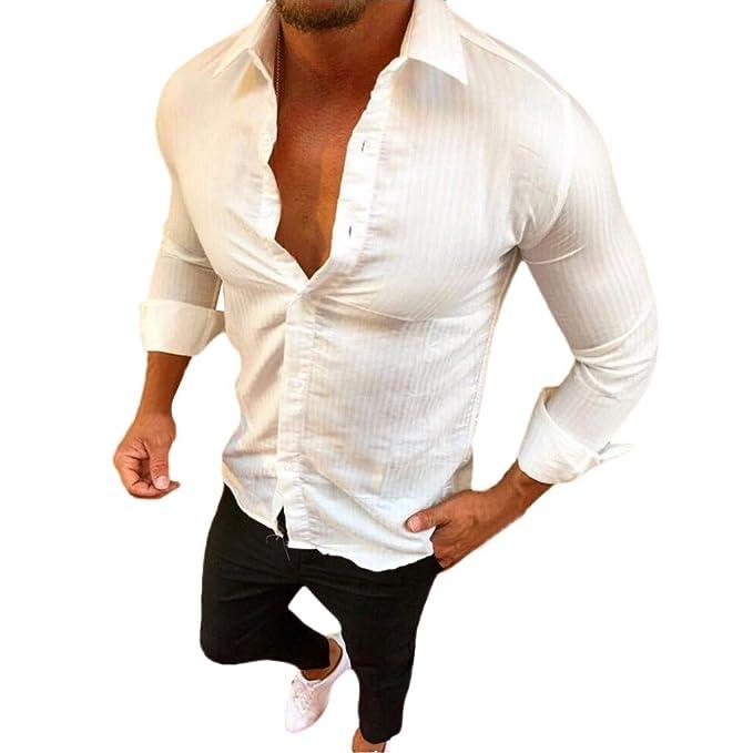 Camisas de Hombre Otoño Casual Manga Larga Talla Grande Moda Frente Abierto Color sólido Botón Tops Blusas: Amazon.es: Ropa y accesorios