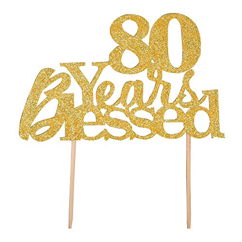 80 Years Blessed Cake Topper - Happy 80th Birthday - Wedding Anniversary Party Decoration Supplies (Gold Glitter) ()