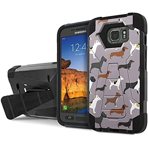AT&T [Galaxy S7 Active] Armor Case [NakedShield] [Black/Black] Tough ShockProof [Kickstand] Phone Case - [Dogs Sales