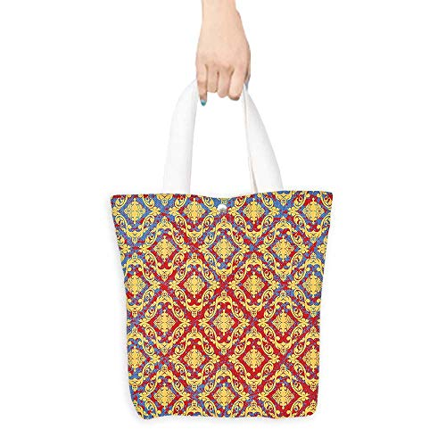 Craft Canvas Shopping Bag Damask Decor Vintage Victorian Pattern with Embellished Floral Antique Forms Kitsch Design Yellow Red (W15.75 x L17.71 Inch)