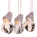 Tuscom Three-Piece Set Christmas Doll Small Hanging| Creative Baubles Xmas Tree Ornaments Party Home Decoration (4 Style 9X4cm) (C)