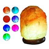 HOMY LED USB Himalayan Salt Lamp with Wood Base Multi Color Changing Small Air Purifier and Ionizer about 4.7 Inches 1.5 lbs No Installation Required Great Decor For Home Office Hotel