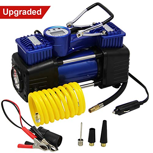 FORUP Compressor, Heavy Duty Portable Air Pump, 150 PSI, LCD Backlit Digital Display, Auto 12V Tire Car, Truck, RV, Bicycle and Other Inflatables (Dual Cylinder)