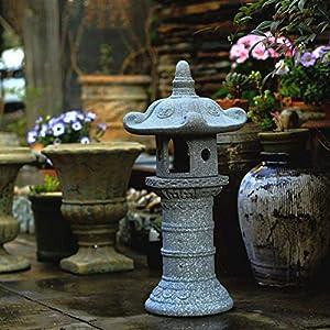 Garden Ornament Sculpture Large Zen Pagoda Asian Lantern Garden Decor Statue Tower Asian Outdoor Art Oriental Lawn…