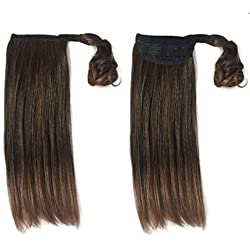 Namecute Hair Extensions Ponytail Wrap Around Pony Tail Ombre Brown