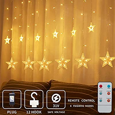 XDlight Star Christmas Decoration String Lights,Window Curtain Lights with 8 Flashing Modes RF Remote Decoration for Christmas, Home, Wedding, Party,Patio,Colorful for Indoor Outdoors