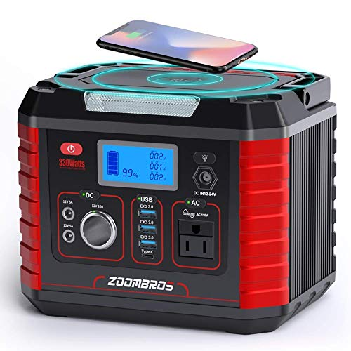 ZOOMBROS 330W Portable Power Station, 289WH Solar Generator CPAP Backup Lithium Battery Pack with 110V Pure Sine Wave AC Outlet, Wireless Charger, QC3.0 USB, Type C for Outdoor Camping RV Power Outage