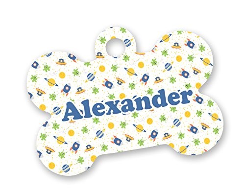 Boy's Space Themed Bone Shaped Dog Tag (Personalized)