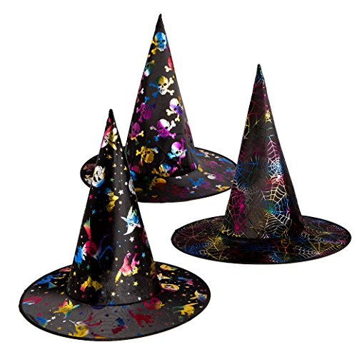 3 Pack Witch Hat Wizard Hat Halloween Costume Hat Fancy Dress Costume Accessory Pointed Cap for Women Adult Halloween Party Cosplay Drama Magician