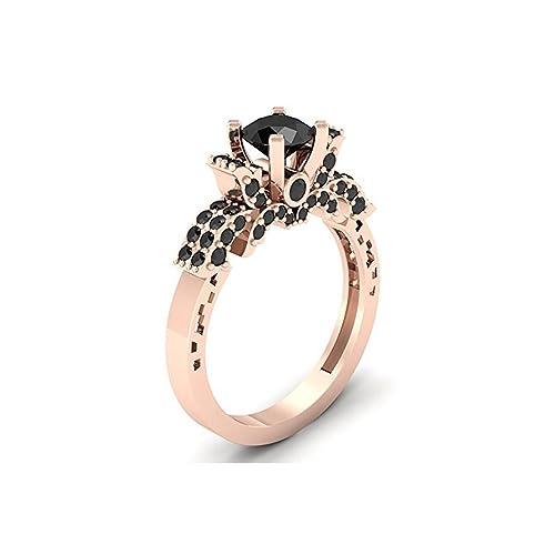 Mejor compromiso anillos de boda en 3,20 ct negro Zirconia cúbico corte redondo cristal