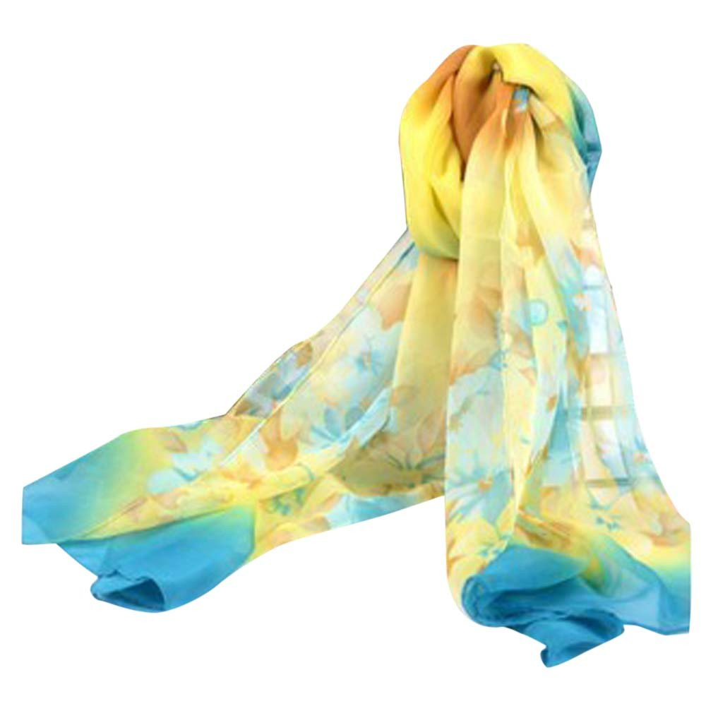 Bestpriceam Women Lady Chiffon Butterfly Print Neck Shawl Scarf Scarves Wrap Stole (Blue New)