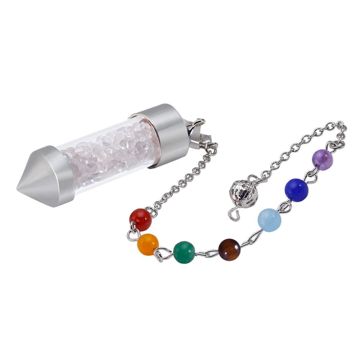 TUMBEELLUWA Healing Stone Chip 7 Chakra Pendulum Crystal Pendant Wish Bottle Necklace Dowsing Amulet