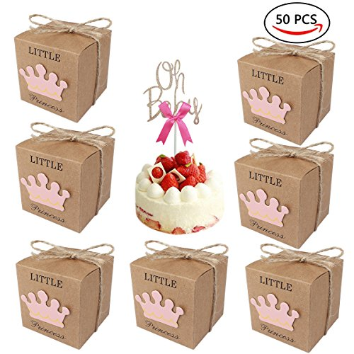 50 Pcs Little Princess Crown Girl Baby Shower Favor Box With Oh Baby Cake Topper, Kraft Paper Box Candy Boxes Gift Box for Gender Reveal Wedding Party Birthday Decoration (Little Princess)