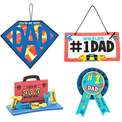 Father's Day Craft Kits Set - Superman Dad Sign, 3D Toolbox, Award Ribbon & More! - Children's Activities for Classroom, Kid's Sunday School Homeschooling Supplies Scrapbooking DIY Refrigerator Decor: Toys & Games