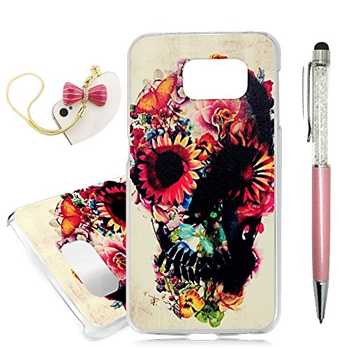 Galaxy S6 Case,YOKIRIN Painted Skull Flower Slim Fit & Lightweight Scratch Proof Flexiable Hard PC Cover Protective Hybrid Case Cover [Drop Protection] Anti-slip Skin Shell & Dust Plug & Stylus Pen