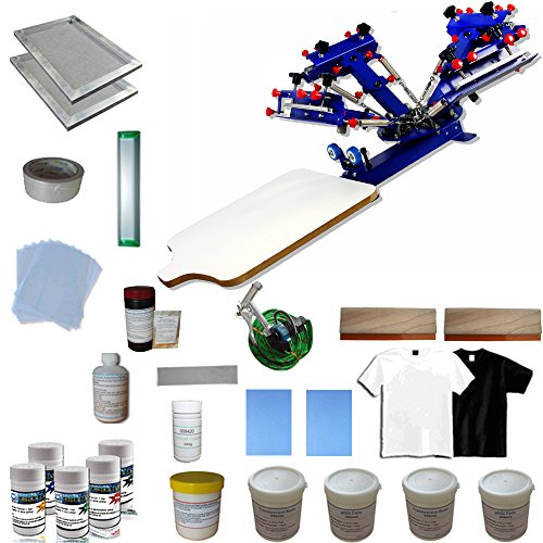 Screen Printing Materials Kit & 4 Color 1 Station Screen Press for beginners by Screen Printing Kit
