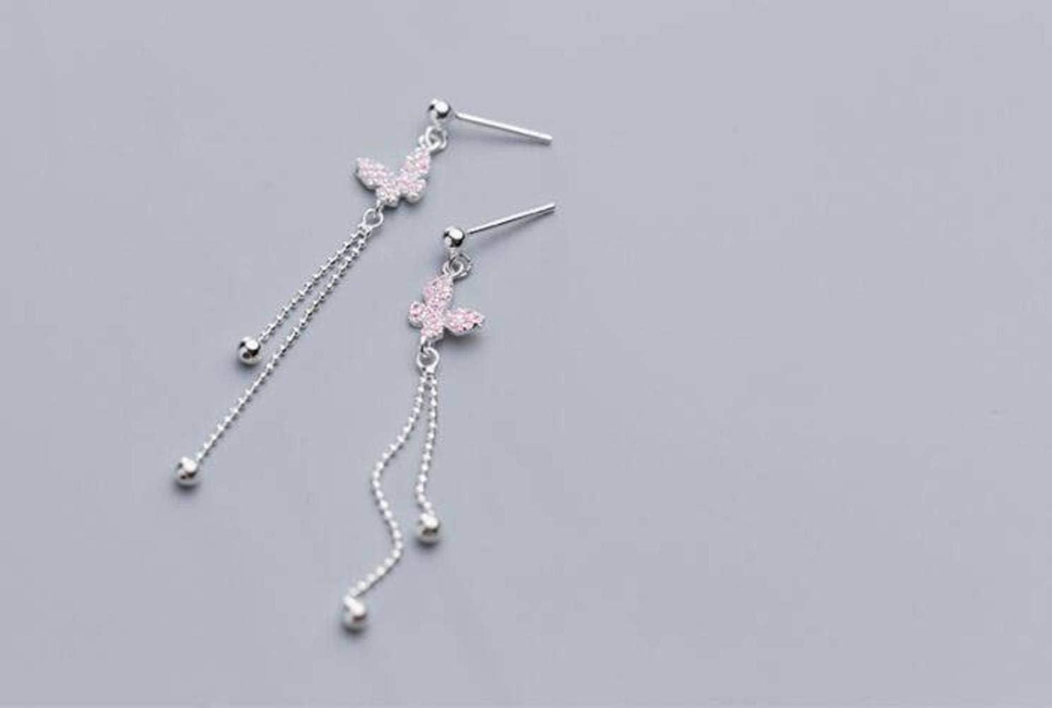 WOZUIMEI Pendientes de Plata S925 Pendientes de Animales de Moda Coreana Femenina Cuentas de Luz de Diamante de Mariposa Linda SimpleUn par
