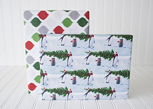 Penguins Carrying Christmas Trees - Reversible Holiday Wrapping Paper - Eco Gift Wrap Allport Editions x Wrappily