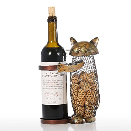 Tooarts Cat Wine Holder Cork Metal Wine Barrel Cork Storage Cage Table Cork Container Ornament