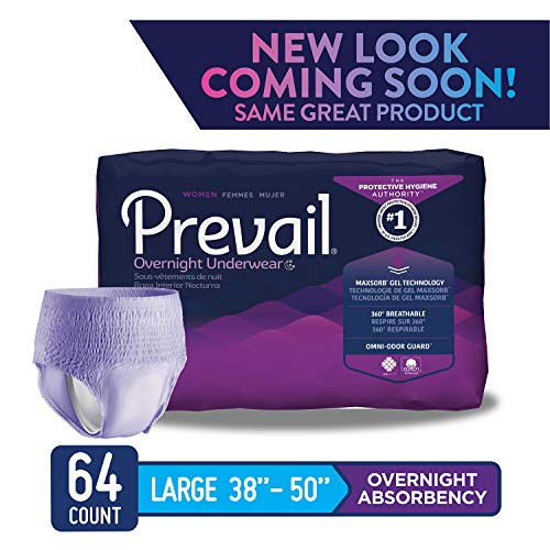 Prevail Overnight Absorbency Incontinence Underwear for Women Large 64 Count (Packaging May Vary) Breathable Rapid Absorption Discreet Comfort Fit Adult Diapers