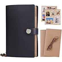 CLEARANCE SALE ! ! ! Refillable Travelers Notebook Journal - Classic Writing Vintage Journal, Premium Thick Paper, 5 Pack Inserts + 1 Rope + 2 Pieces Stickers + Box, 6.5 x 4.0 Inch