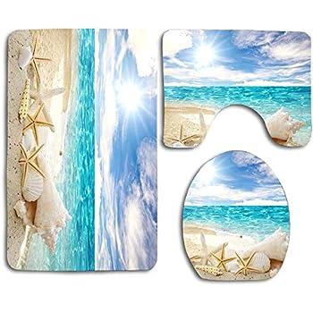 Amazon Com Beach Theme Seashell Bathroom Rugs Set 3 Piece