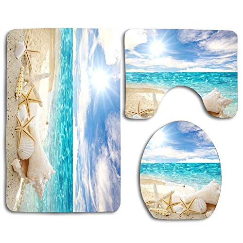 Beach Theme Seashell Bathroom Rugs Set 3 Piece,Beach Bath Rugs Mats Non-Slip Bathroom Cushion Pad Including Bath Pad,Pedestal Mat,Toilet Seat Lid Cover