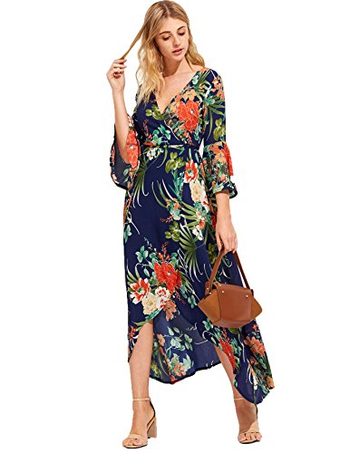 Chiffon Wrap Floral (Milumia Women's Boho Deep V Neck Floral Chiffon Wrap Split Long Maxi Dress Multicolor-2 Large)