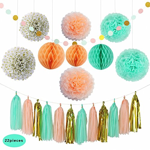 Party Decoration Kit (22 Pieces) - Coral, Mint Green & Gold - Tissue Paper Decor w/ Pom Poms, Balls, Tassels, Garland - Birthday Parties, Bridal Showers, Baby Showers, Bridal, Wedding by PolySlick