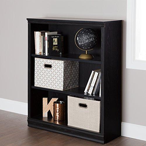 South Shore Morgan Small 3-Shelf Bookcase - Adjustable Shelves, Black Oak