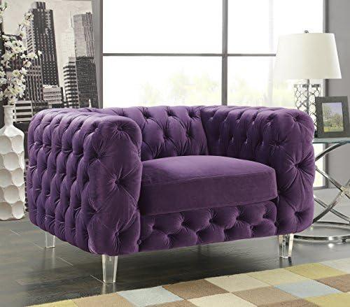 Iconic Home Modern Contemporary Tufted Velvet Down-Mix Cushons Acrylic Leg Club Chair, Purple