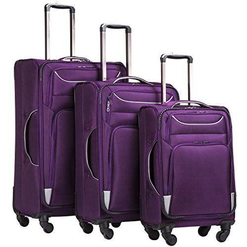Coolife Luggage 3 Piece Set Suitcase Spinner Softshell lightweight (purple+sliver) (Best 4 Wheel Suitcase Review)