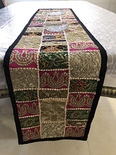 Fair Deal Rajasthani Handmade Tapestries Beaded Wall Décor Table Runner Patchwork Runner Cotton Wall Hanging Embroidery ()