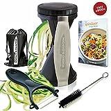 Premium Vegetable Spiralizer Bundle - New 4-Blade Spiral Slicer with Ceramic Peeler - Zucchini Pasta Spaghetti Maker