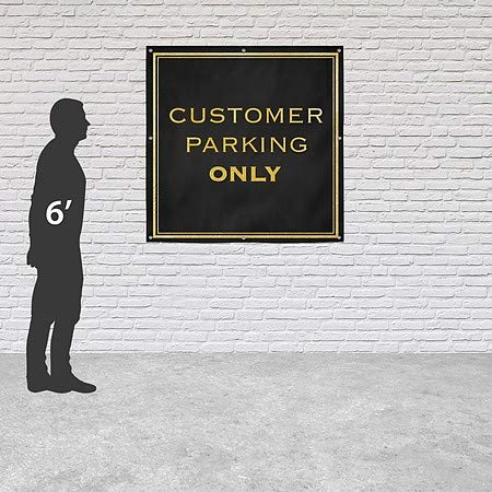 Classic Gold Heavy-Duty Outdoor Vinyl Banner Customer Parking Only CGSignLab 8x8