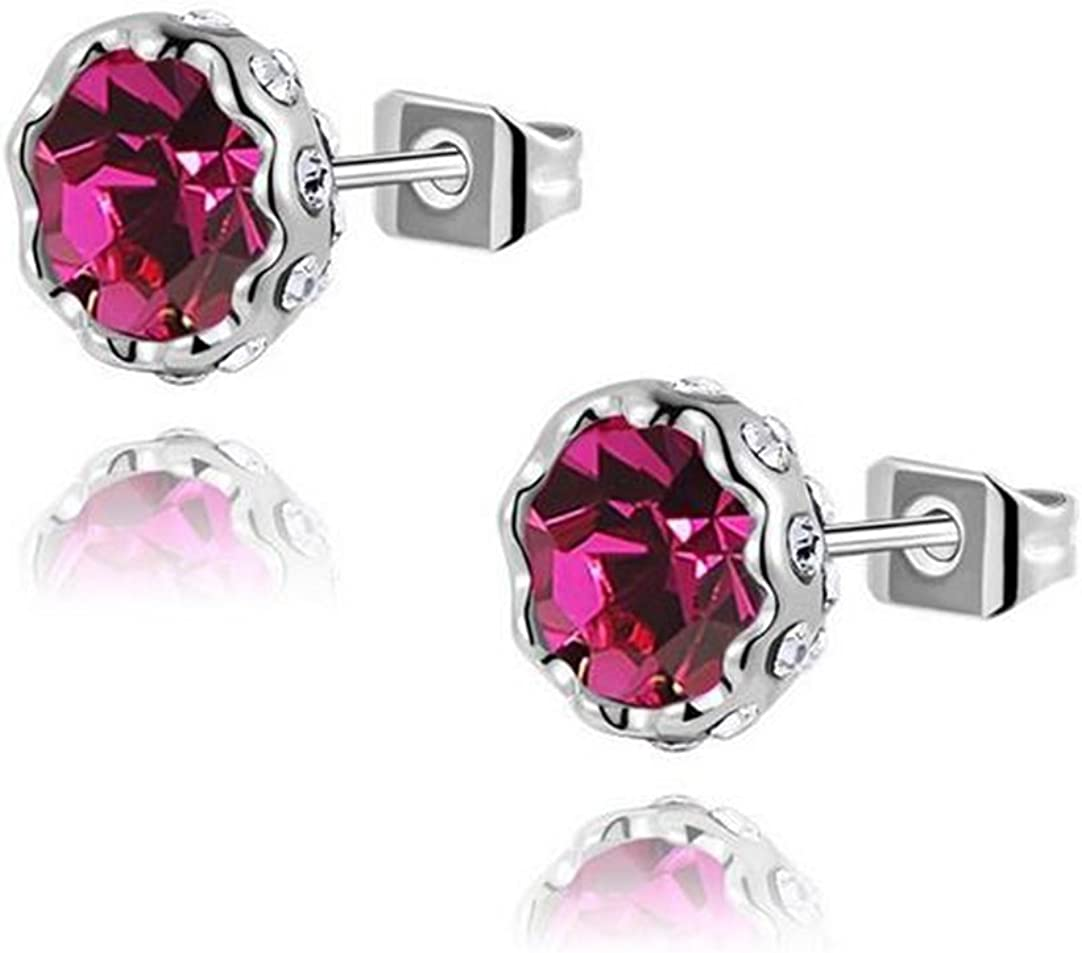Gudeke Lotus Nieve Flor Pendientes Diamante Cristales Austriacos Aros Multicolores (Rosa Roja)