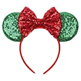 YanJie Christmas Sequin Mouse Ears - Glitter Hair Accessories Party Favor Decoration Cosplay Costume for Children & Adults (Green)