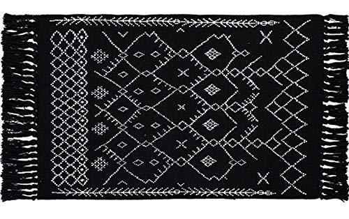 Vintage Nordic Handwoven Cotton Tassel Rag Rug | Chindi Rug with Tassels Throw Rugs for Laundry Room Living Room Doormat, Black (Rug Black Blocks)